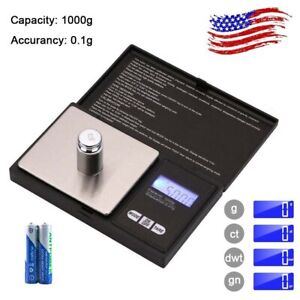 Digital Scale 1000g x 0.1g Jewelry Pocket Gram Gold Silver Coin Herb Grain Food