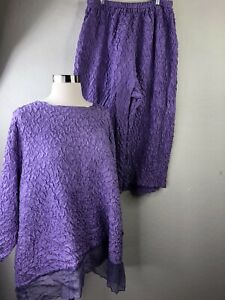 WHISPERS by Carole Doughan Womens 1X Purple Silk Crinkled Shirt Pant Set $26.60