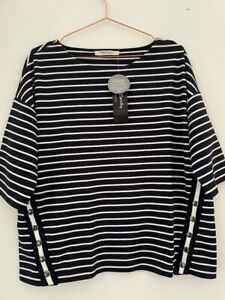 Betty Barclay Navy Stripey Casual Top Popper And Stripe Detailing UK 16 EU 42