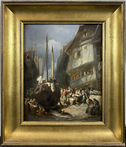 Exceptional 19th C. Dutch Ship Dry Dock w Figures Oil SIGNED Impressionist $695.00