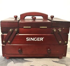 VINTAGE Singer sewing box with thread and notions $40.00