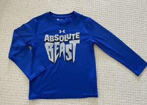 Boys Youth Under Armour Top Shirt Long Sleeve Blue quot;Absolute Beastquot; Sz 6