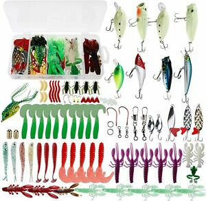 185PCS Amarine Made Fishing Lures Tackle Kit Set Plastic Worms Bass Soft Lures
