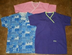 3 Pc Womens Medical SCRUBS Lot TOPS Shirts Size Small IZZY Peaches