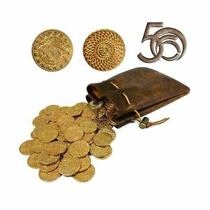 50 DND Fantasy Metal Gold Coins amp; Leather Pouch for Dungeons amp; Dragons Novelt... $22.00