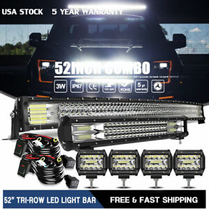 52 Curved LED Light Bar 20 22 4 Combo for 99 15 Ford F250 F350 Super Duty $128.99