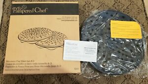 The Pampered Chef Microwave Chip Maker 1241 Veggies No Oil Cooking Healthy 2 pc