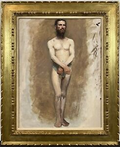 Antique 19th C. French Parisian Academic Nude Male Study Oil on Canvas c. 1885 $2495.00