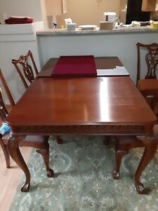Maple dining room set table 6 chairs