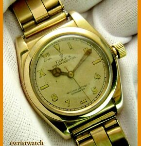 Vintage 40s Rolex Oyster Perpetual Chronometer Bubbleback Solid 14K Gold Case $6290.00