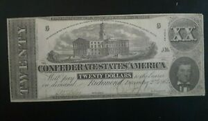 T 51 PF 1 $20 Confederate Currency **UNCANCELLED and Nice Shape ** CSA#10