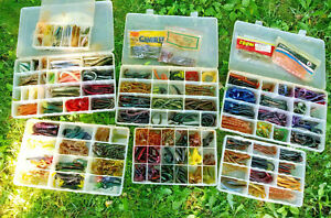 Lot of Fishing Lures Soft Plastic Rubber Worms Lizards Crawfish Hundreds