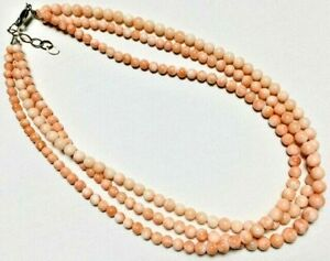 Angel Skin Coral Bead Triple Strand Sterling Silver Necklace $169.00