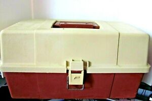 Vintage Plano 5630 Tackle Box 3 Tray Made n USA Fishing Storage Clean Beige Rust