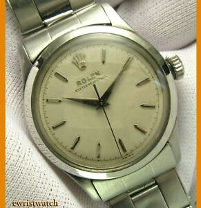 Vintage 50s Rolex Oyster Perpetual Semi Bubbleback No Lume Orig Dial Rivets Band $5990.00