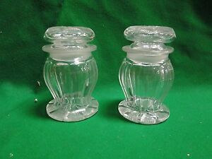 ANTIQUE JARS WITH STOPPER LIDS ENGLISH 1890 ORIGINAL LARGE AND FANCY SHAPE $105.00