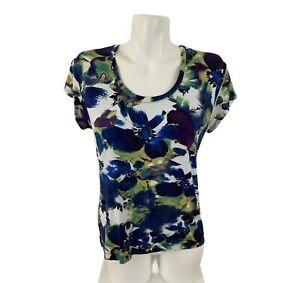 Chicos Womens Short Sleeve Colorful Floral Top Shirt Scoop Neck Size 1 Rayon $19.99