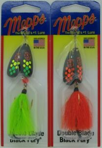 2 MEPPS Black Fury Double Blade Spinners 5 16 oz. Two Hot Colors