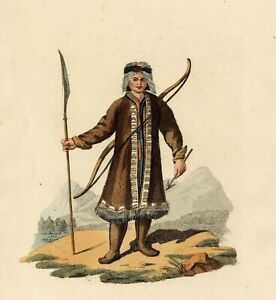 A Yakut in Hunting Dress engraving Edward Harding RUSSIA EMPIRE COSTUMES 1803