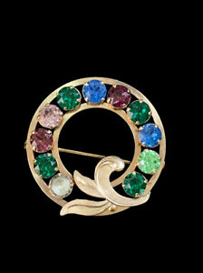 Vintage Signed Van Dell 12k Yellow Gold Filled Multicolor Rhinestone Brooch Pin $16.25