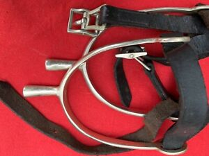 Solid Nickel Silver English Riding Spurs Made In England with Straps  Buckles