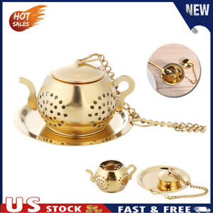 Gold Stainless Steel Tea Spoon Infuser Holder Filter Tea Strainer with Base US
