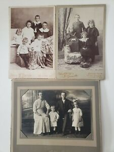 set of 3 Antique Portraits Wisconsin local Siblings mom and dad with kids photos $10.00