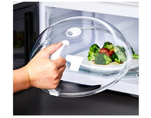 Plastic Microwave Plate Cover Clear Steam Vent Splatter Lid Food Dish Covers New