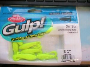 Berkley Gulp Saltwater Lures 3quot; Double Tail Swimming Mullet Chartreuse 8 Pack