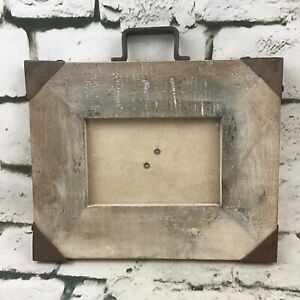 NATURA 4� X 6� Photo Picture Frame Rustic Wood Metal Accents Farm House Decor $14.99