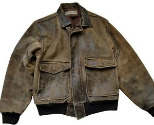 Vintage Bomber Leather Jacket Spettro Brown lined Size Medium M DISTRESSED