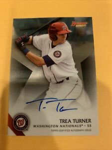 Trea Turner AUTO RC Bowman#x27;s Best 2015 Rookie Autograph Topps Certified 🔥🙏