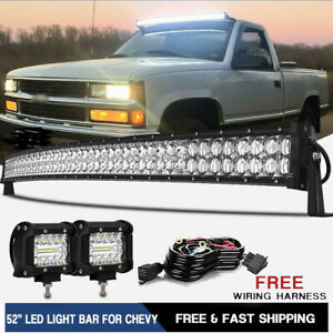 52 Curved LED Light Bar 2x Pods Lamp Combo For 99 06 Chevy Silverado GMC Sierra $87.99