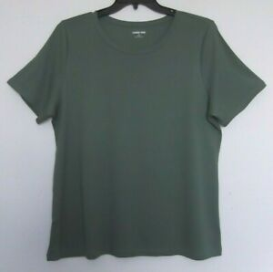 Lands#x27; End Olive Green Supima Cotton Knit Top short sleeve Sizes 1X 2X 3X NWT