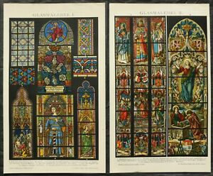 1897 Set 2 Antique Lithographs: STAINED GLASS WINDOWS. GOTHIC ART. CATHEDRALS. $18.00