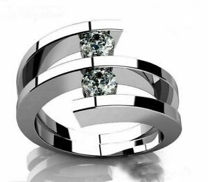 TENSION SET WEDDING ENGAGEMENT BYPASS TWO STONE RING 14K WHITE GOLD 2 CT DIAMOND $271.65