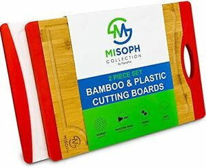 Organic Bamboo and Plastic Cutting Boards for Kitchen 2 Piece Set Featuring $16.65