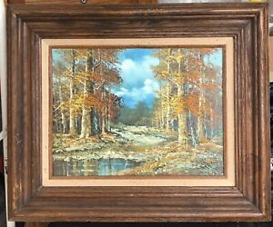 Large Oil Painting Autumn Falll Landscape by J.Medina Wood Frame 24quot; x 20quot; $45 $45.00