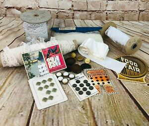 vtg lot of sewing supplies lace buttons needles notions ribbon white craft room $17.50