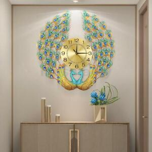 Luxury Peacock Large Wall Clock 33quot; Metal Living Room Wall Watch Home Decor Gift $61.49