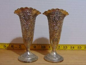 2 Silver Plate Over Brass Bud Vases Ornate Made In Japan 5quot; $20.00