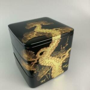 Japanese antique heavy box pine bamboo plum Lacquer Makie 20cm $353.78