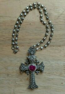 Large Ornate Handmade Sterling Silver and Pink Gemstone Cross With 19 3 4quot; Chain $175.00