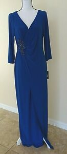 Adrianna Papell Evening Dress Gown Womens Size 12 Blue Embellished $179 Ruched $53.33