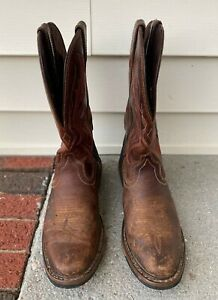 Justin Work Mens Size 9 D Rugged Utah Leather Hard Toe Western Boots WK4644