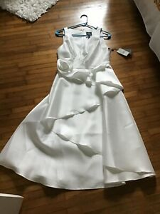 Adrianna Papell Mikado Rosette Dress lined Size 6 Ivory. New with tags. $70.00