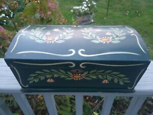 Vintage stenciled Dome Top Wooden Sewing pine box Dark green $125.00