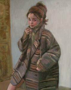 Young lady in a coat original oil painting
