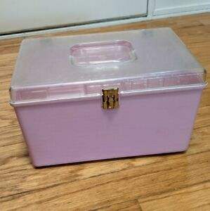 Vintage WILSON Wil Hold Hard Plastic Sewing Box PINK with handle and inside Tray $12.99
