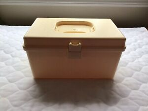 Vintage Wil Hold Wilson Sewing Box w Accessory Tray Ivory Plastic $18.00
